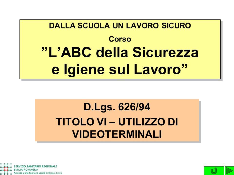 D.Lgs. 626/94 TITOLO VI – UTILIZZO DI VIDEOTERMINALI