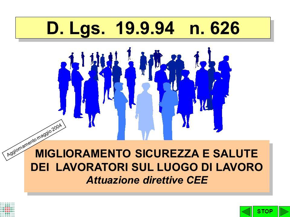 D. Lgs. 19.9.94 n. 626 MIGLIORAMENTO SICUREZZA E SALUTE