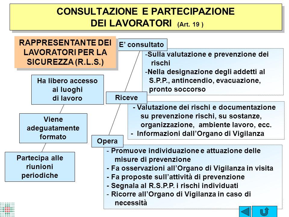 CONSULTAZIONE E PARTECIPAZIONE DEI LAVORATORI (Art. 19 )