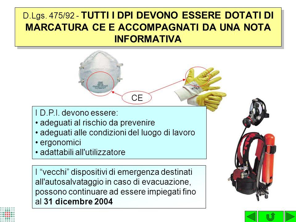 D.Lgs. 475/92 - TUTTI I DPI DEVONO ESSERE DOTATI DI MARCATURA CE E ACCOMPAGNATI DA UNA NOTA INFORMATIVA