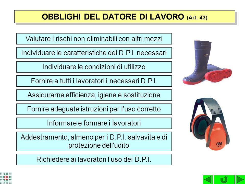 OBBLIGHI DEL DATORE DI LAVORO (Art. 43)