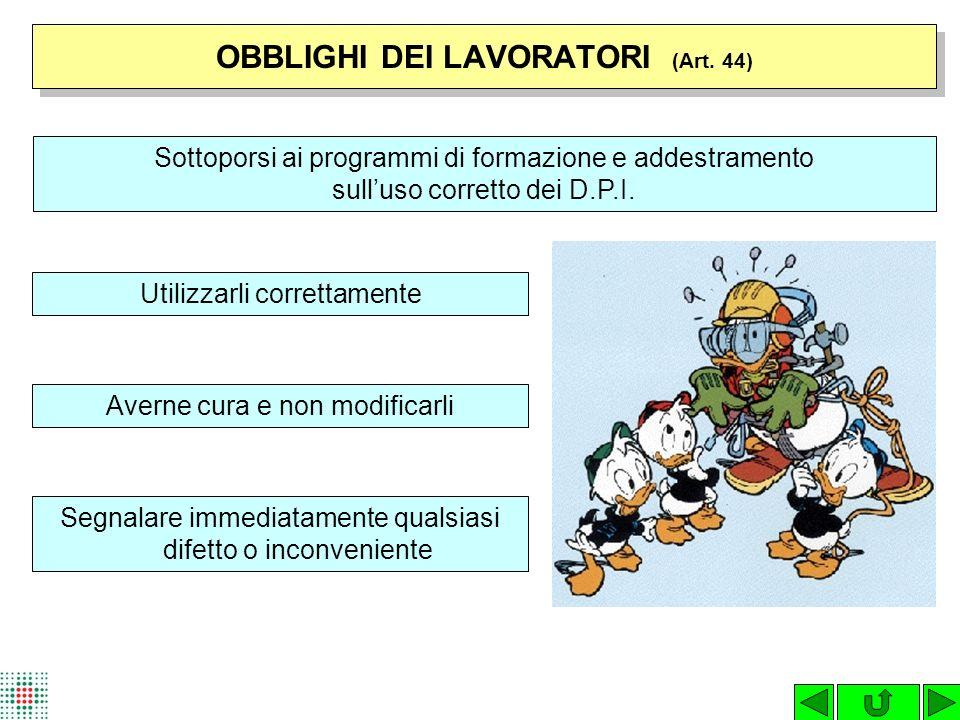 OBBLIGHI DEI LAVORATORI (Art. 44)