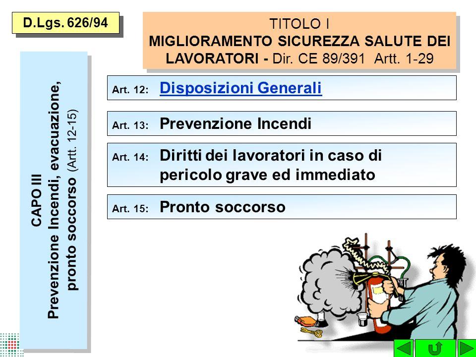 D.Lgs. 626/94 TITOLO I MIGLIORAMENTO SICUREZZA SALUTE DEI LAVORATORI - Dir. CE 89/391 Artt. 1-29. Art. 12: Disposizioni Generali.
