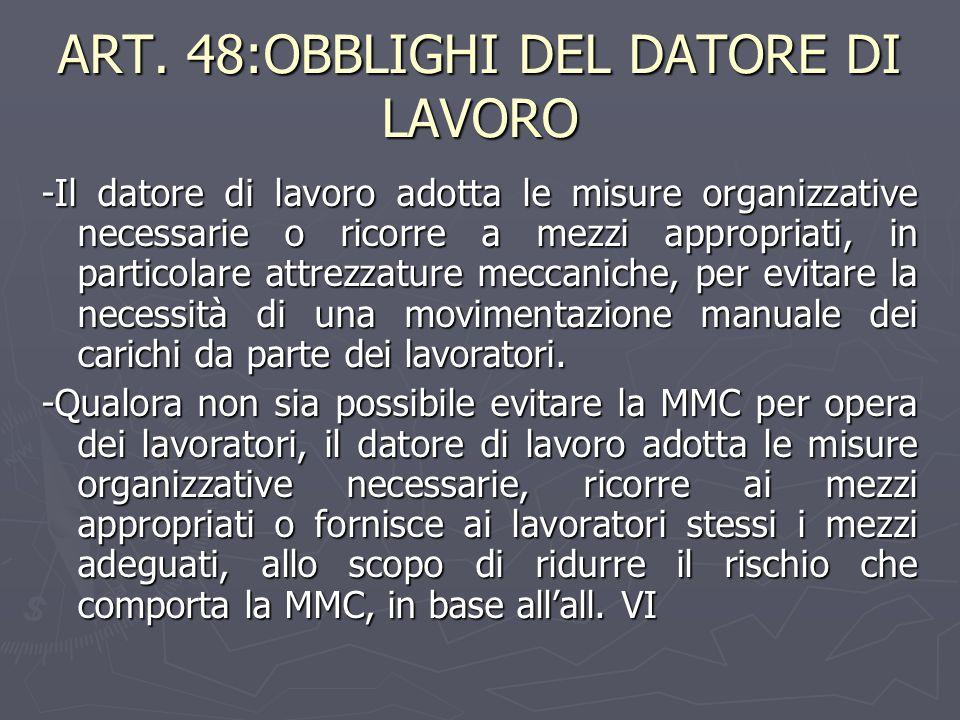 ART. 48:OBBLIGHI DEL DATORE DI LAVORO