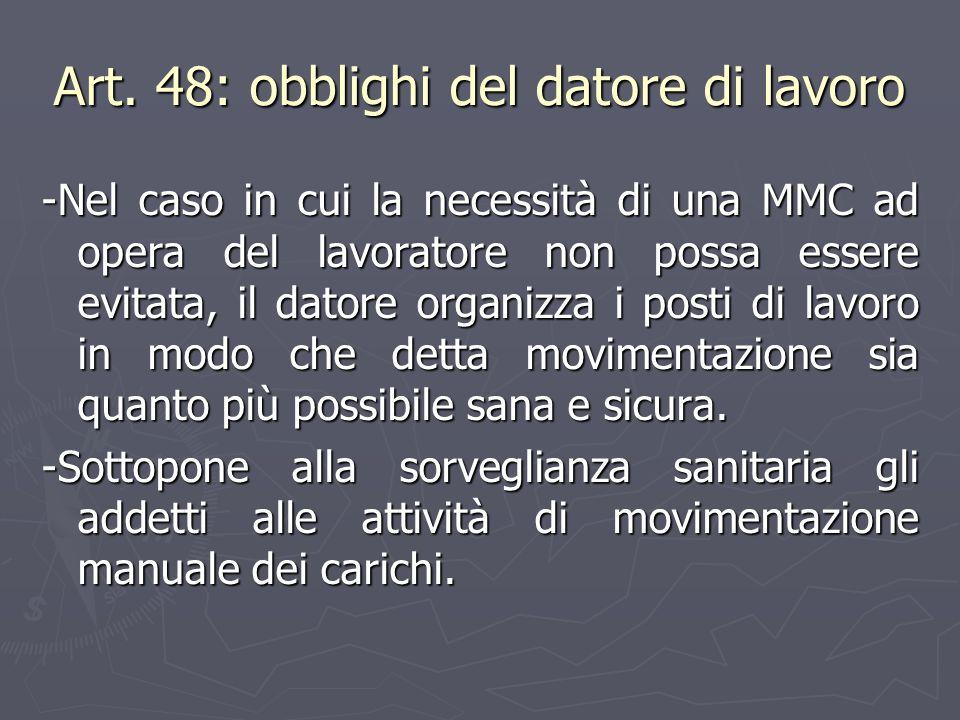 Art. 48: obblighi del datore di lavoro