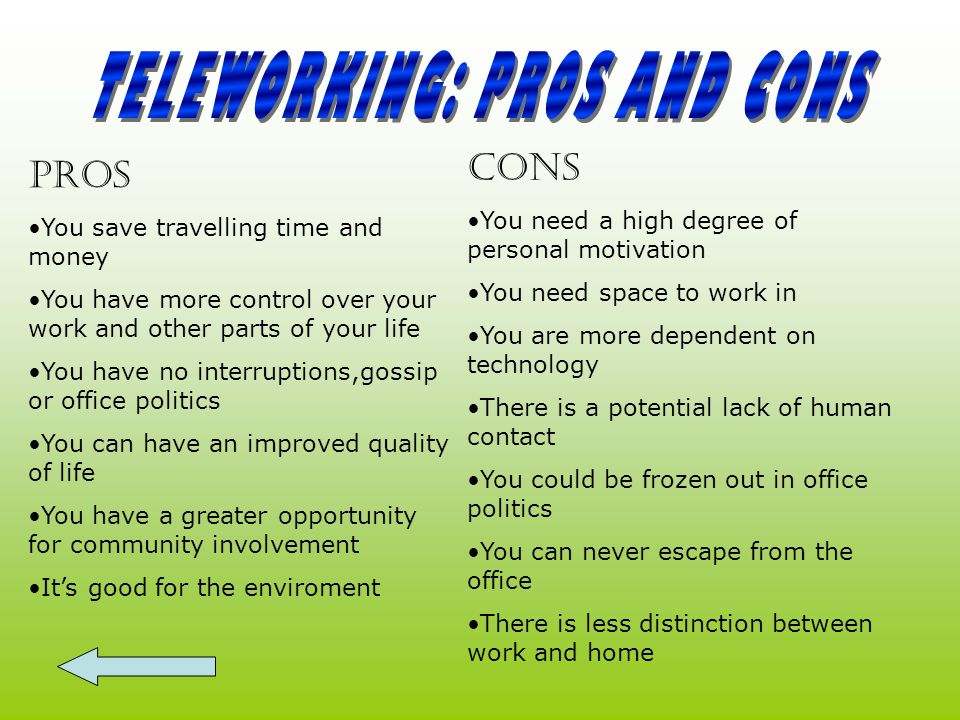 TELEWORKING: PROS AND CONS