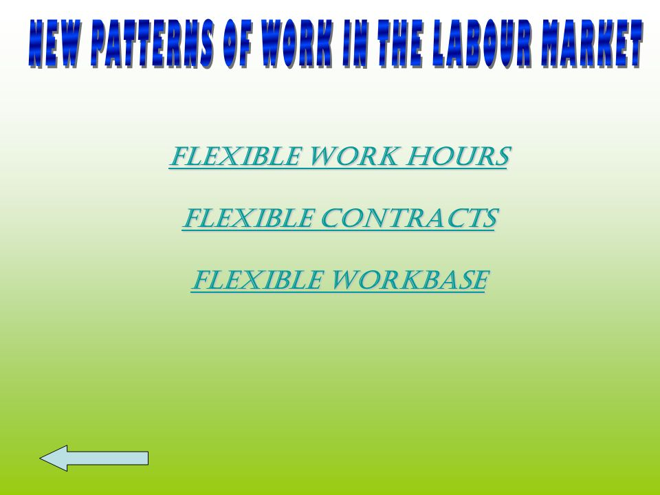NEW PATTERNS OF WORK IN THE LABOUR MARKET