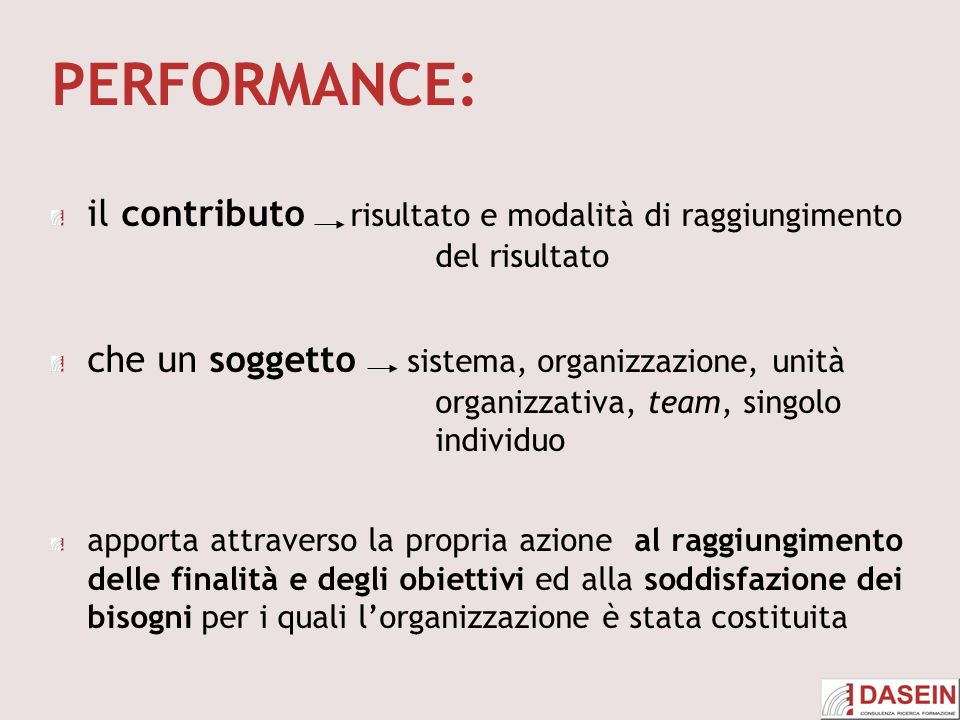 PERFORMANCE: il contributo risultato e modalità di raggiungimento del risultato.