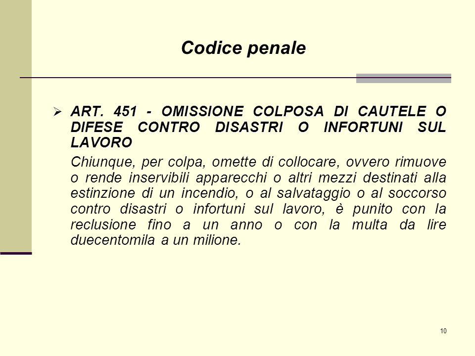 Codice penale ART. 451 - OMISSIONE COLPOSA DI CAUTELE O DIFESE CONTRO DISASTRI O INFORTUNI SUL LAVORO.