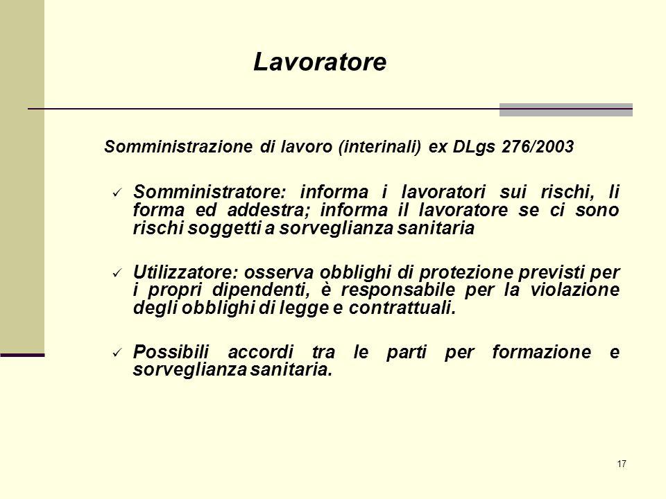 Lavoratore Somministrazione di lavoro (interinali) ex DLgs 276/2003.