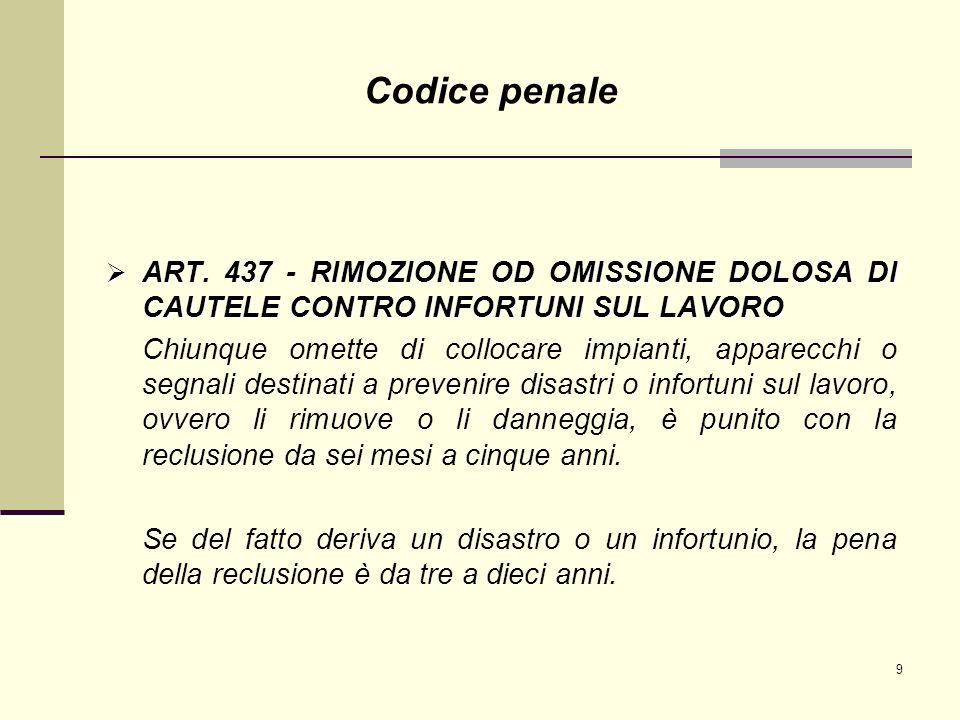 Codice penale ART. 437 - RIMOZIONE OD OMISSIONE DOLOSA DI CAUTELE CONTRO INFORTUNI SUL LAVORO.