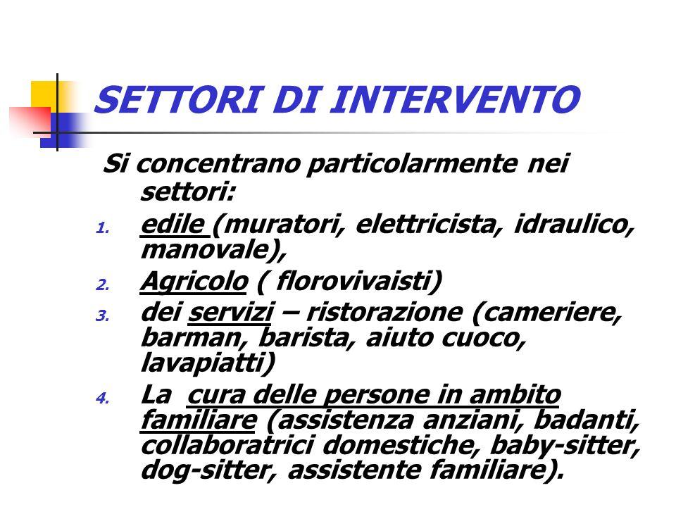 SETTORI DI INTERVENTO Si concentrano particolarmente nei settori: