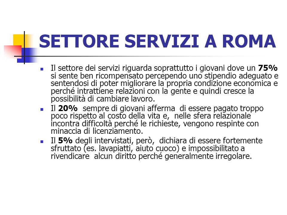 SETTORE SERVIZI A ROMA