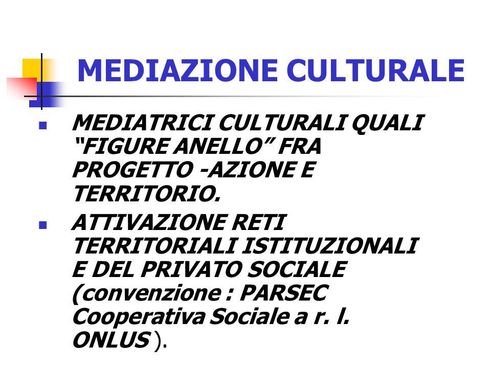 MEDIAZIONE CULTURALE MEDIATRICI CULTURALI QUALI FIGURE ANELLO FRA PROGETTO -AZIONE E TERRITORIO.