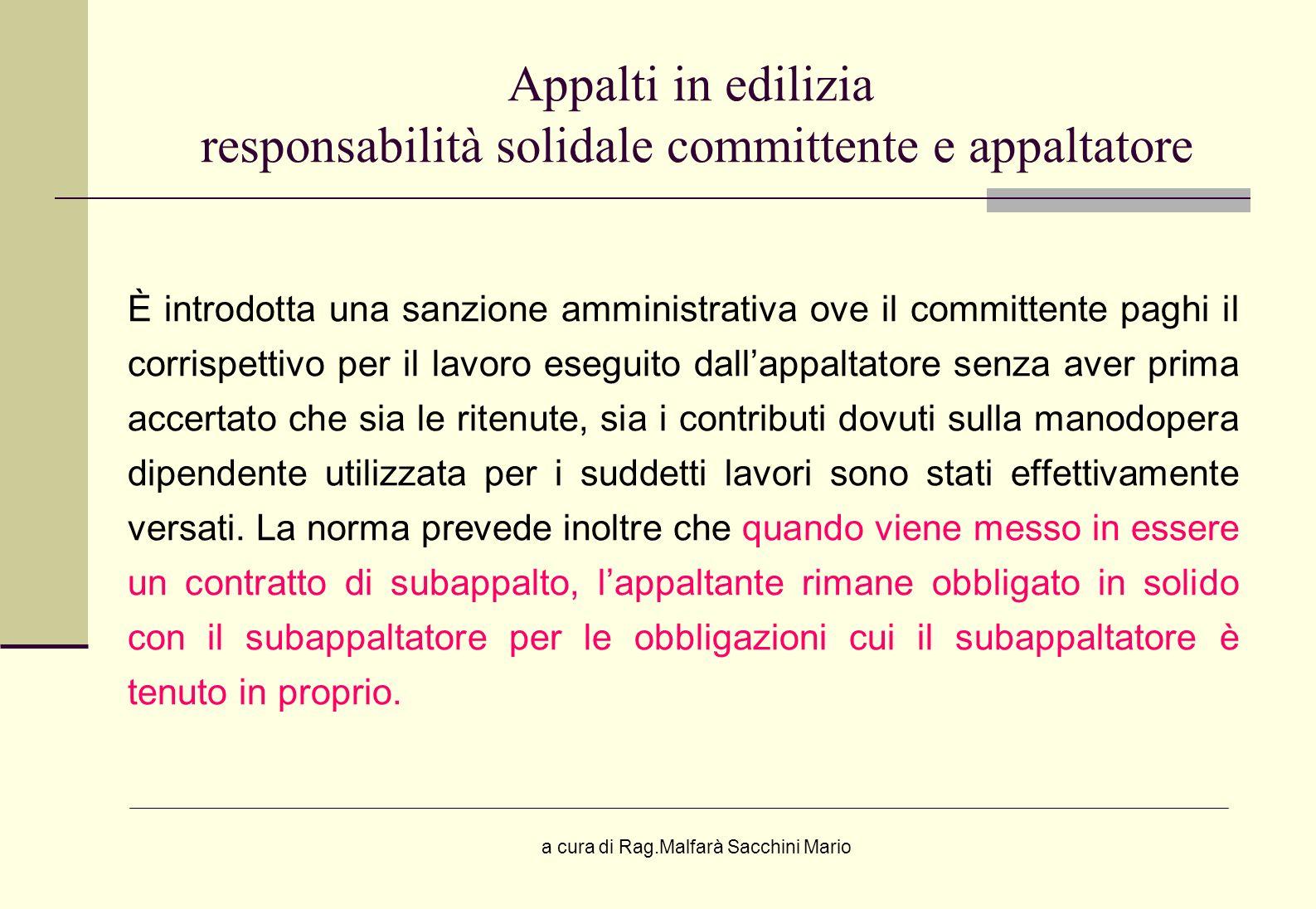 Appalti in edilizia responsabilità solidale committente e appaltatore
