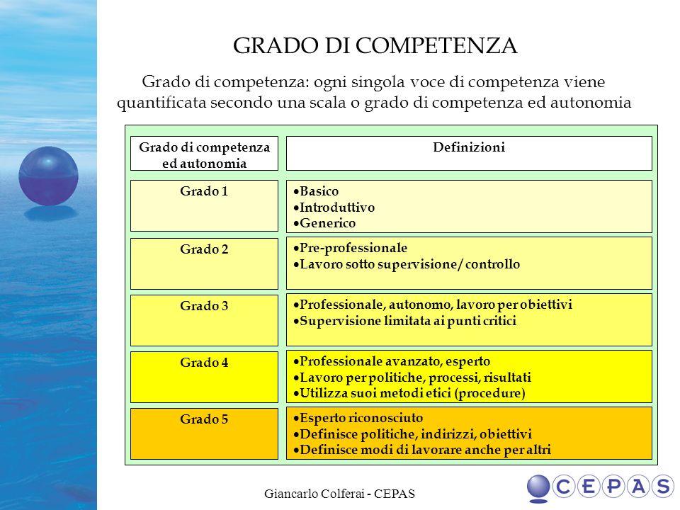 Grado di competenza ed autonomia