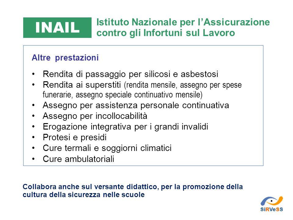 INAIL Istituto Nazionale per l'Assicurazione contro gli Infortuni sul Lavoro. Altre prestazioni. Rendita di passaggio per silicosi e asbestosi.