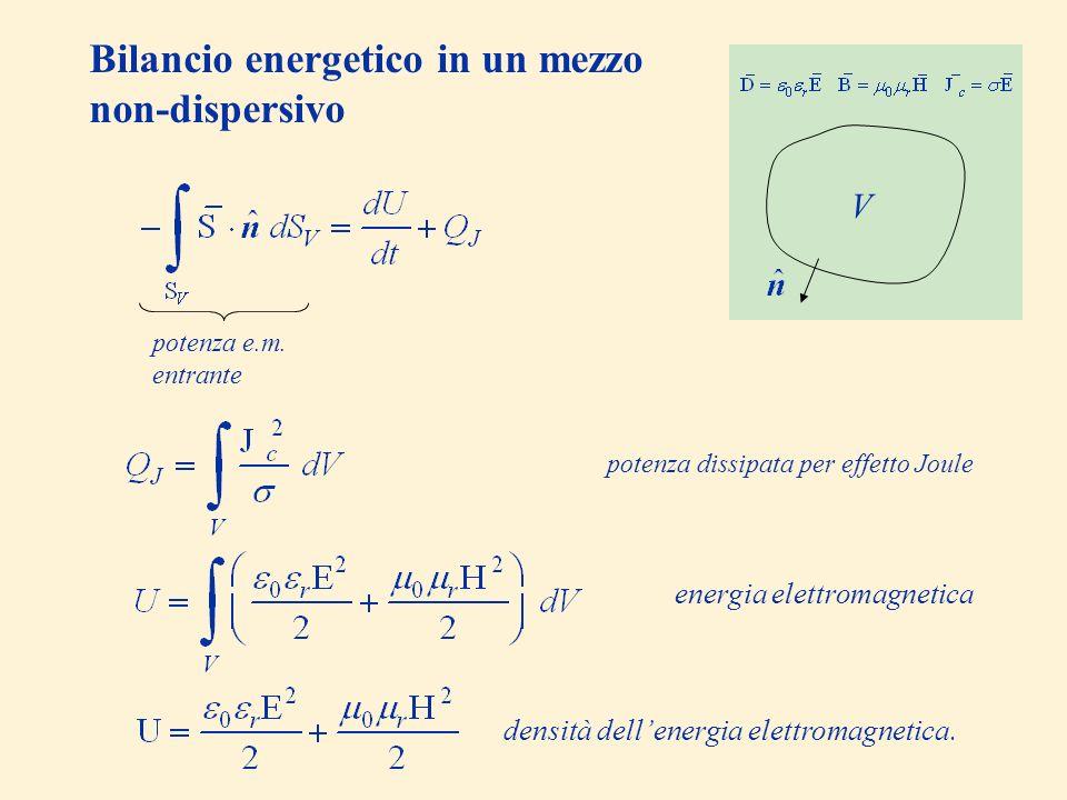 Bilancio energetico in un mezzo non-dispersivo