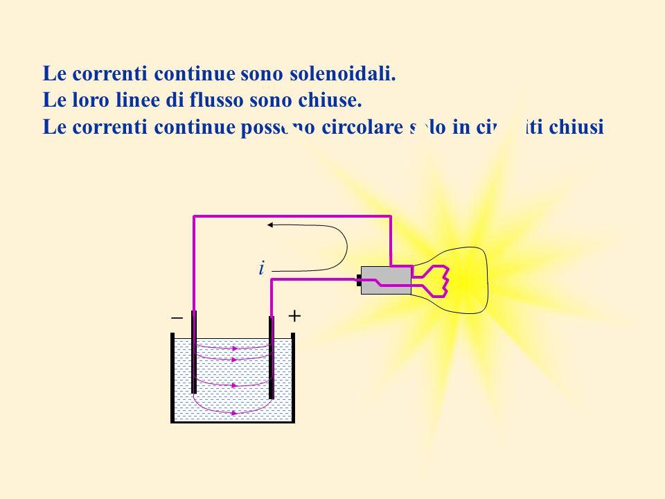 Le correnti continue sono solenoidali.