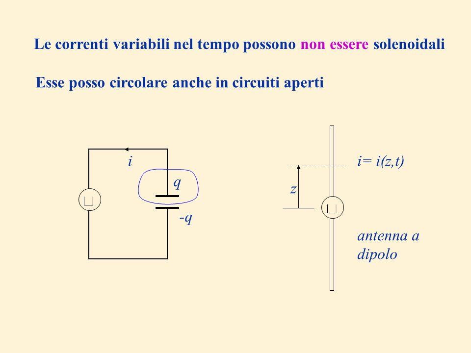 Le correnti variabili nel tempo possono non essere solenoidali