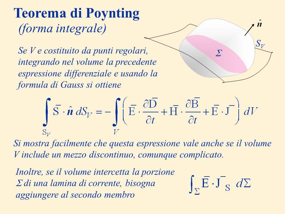 Teorema di Poynting (forma integrale) V SV