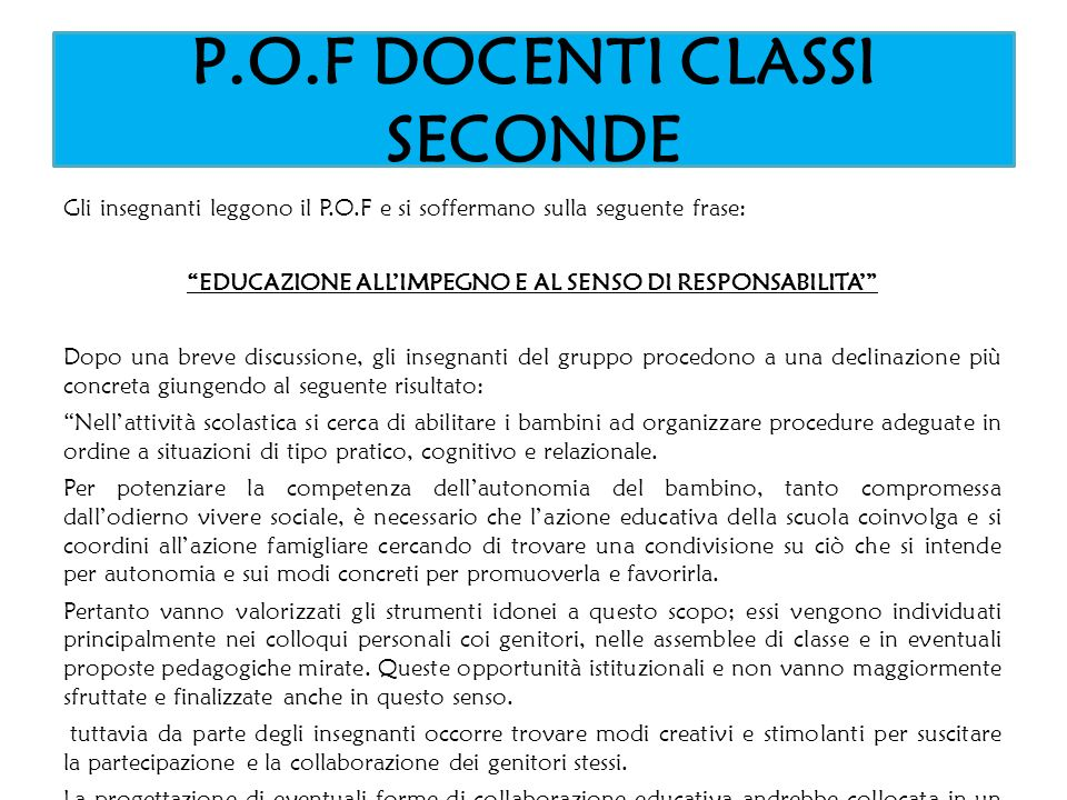 P.O.F DOCENTI CLASSI SECONDE