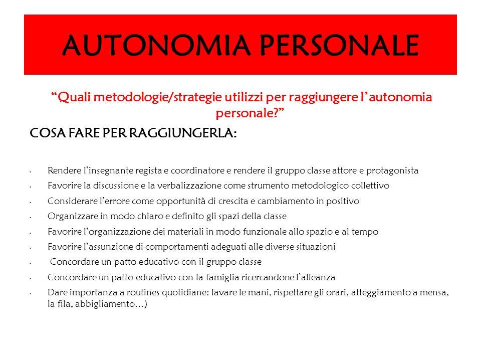 AUTONOMIA PERSONALE Quali metodologie/strategie utilizzi per raggiungere l'autonomia personale COSA FARE PER RAGGIUNGERLA:
