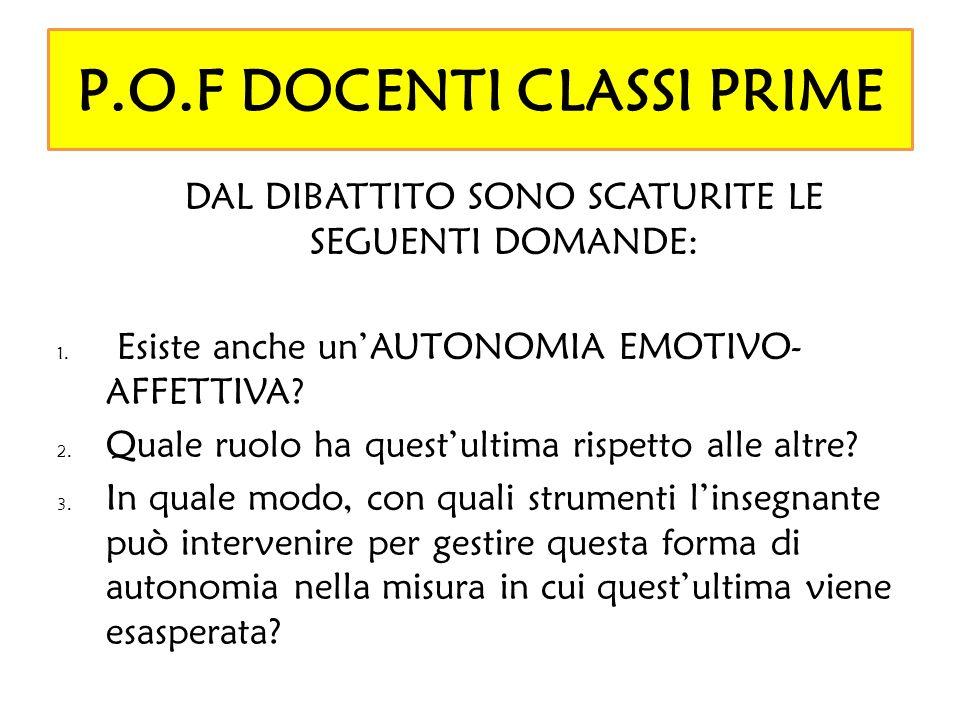 P.O.F DOCENTI CLASSI PRIME
