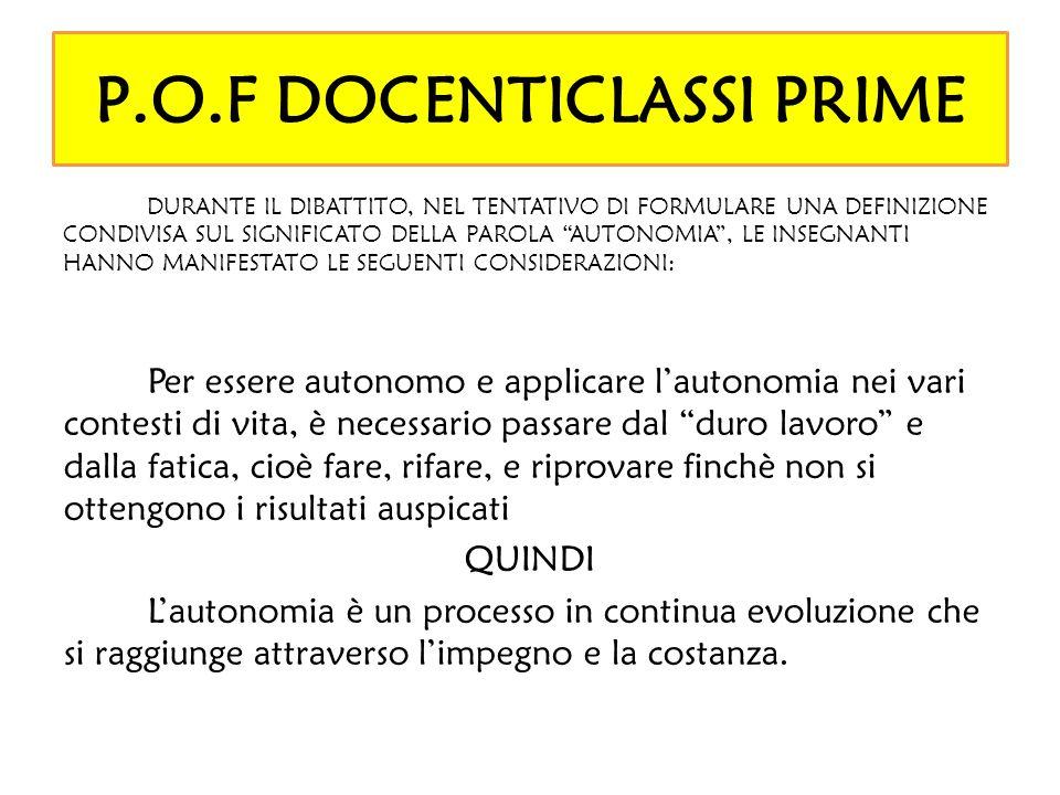P.O.F DOCENTICLASSI PRIME