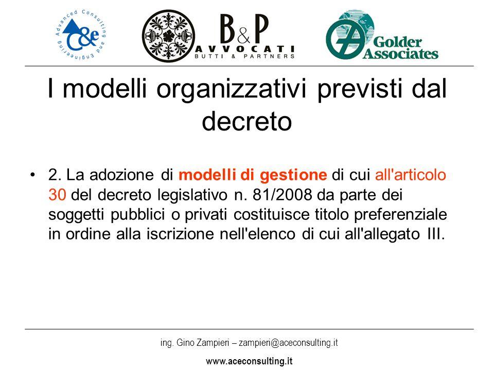I modelli organizzativi previsti dal decreto