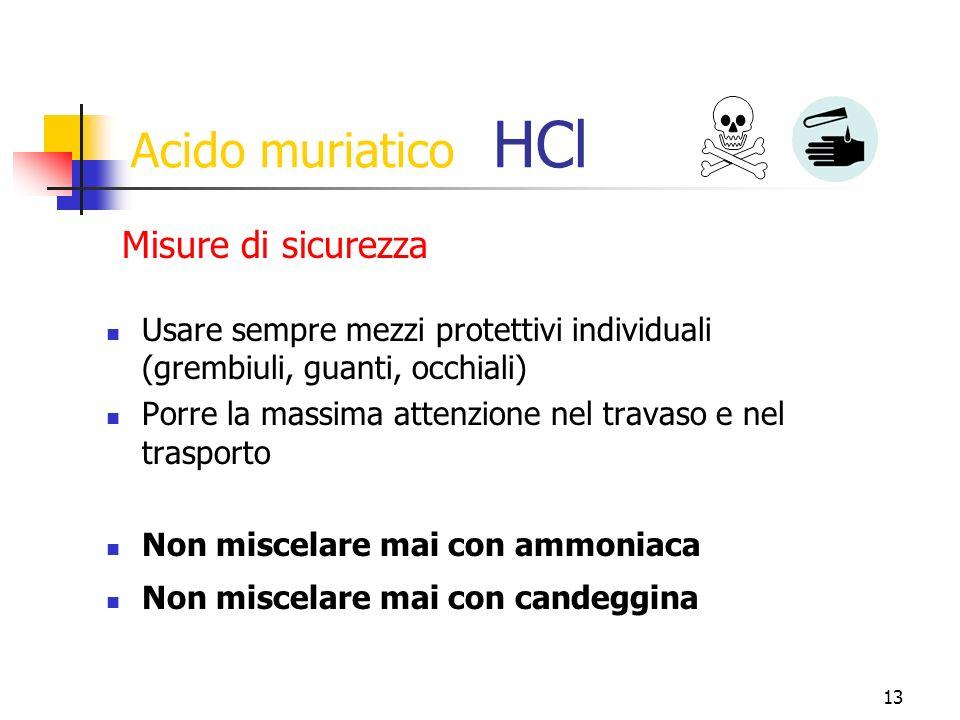 Acido muriatico HCl Misure di sicurezza
