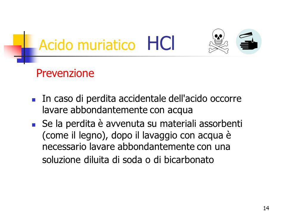 Acido muriatico HCl Prevenzione