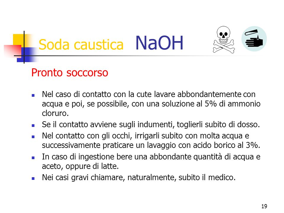 Soda caustica NaOH Pronto soccorso
