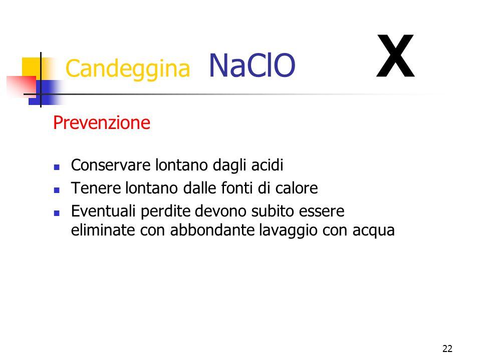 Candeggina NaClO X Prevenzione Conservare lontano dagli acidi
