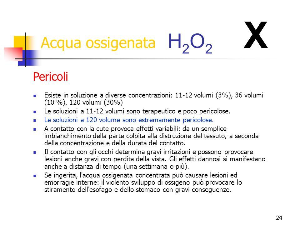 Acqua ossigenata H2O2 X Pericoli