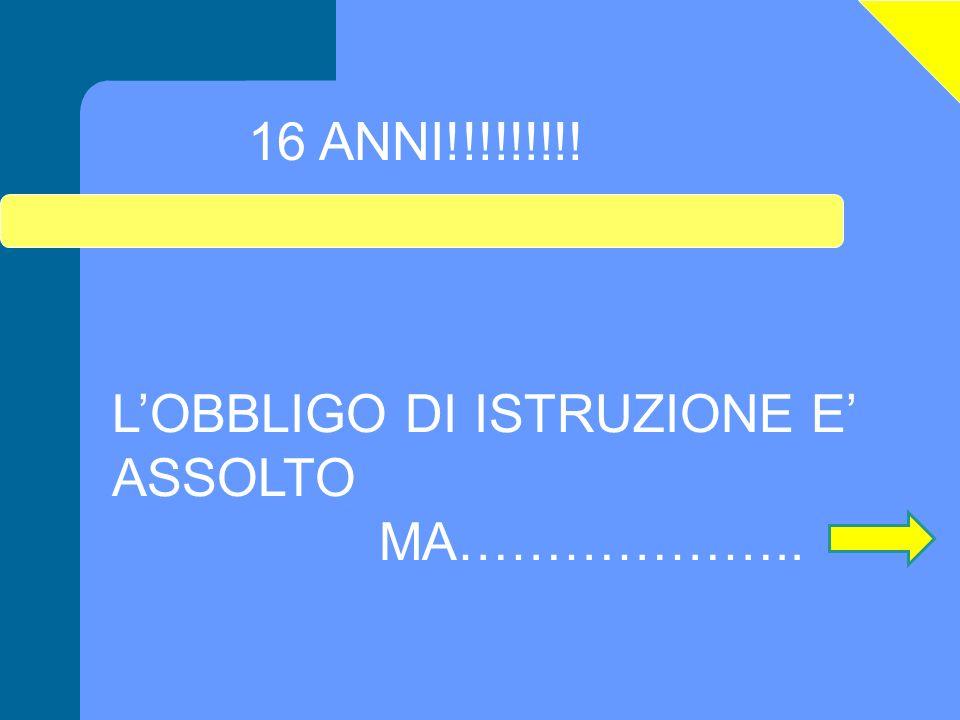 16 ANNI!!!!!!!!! L'OBBLIGO DI ISTRUZIONE E' ASSOLTO MA………………..