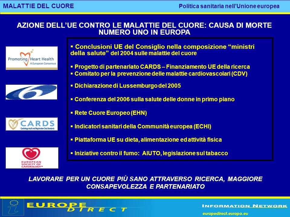 MALATTIE DEL CUORE Politica sanitaria nell'Unione europea