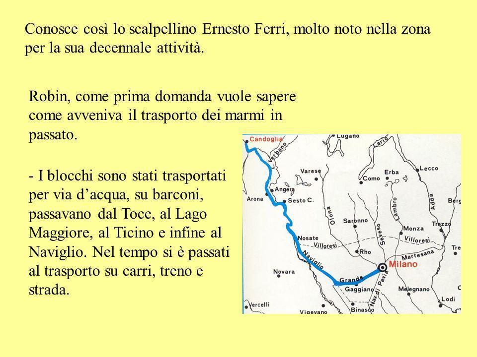 Conosce così lo scalpellino Ernesto Ferri, molto noto nella zona per la sua decennale attività.