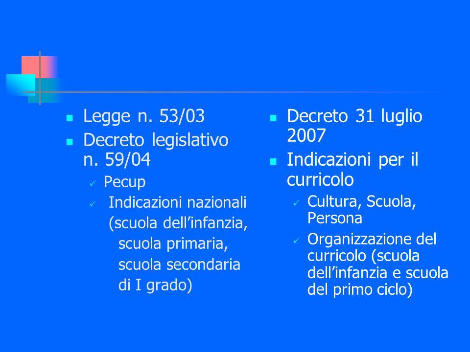 Decreto legislativo n. 59/04 Decreto 31 luglio 2007