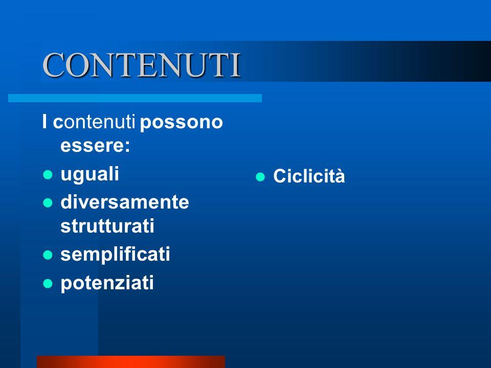 CONTENUTI I contenuti possono essere: uguali diversamente strutturati