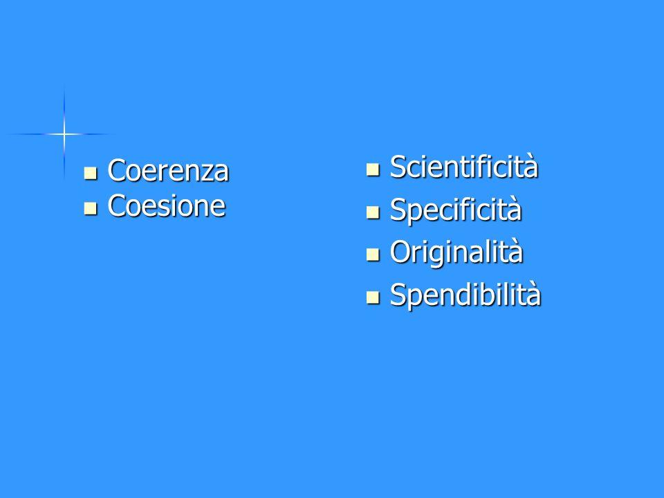 Scientificità Specificità Originalità Spendibilità Coerenza Coesione