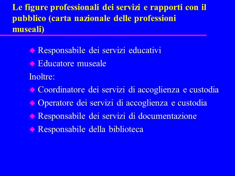 Le figure professionali dei servizi e rapporti con il pubblico (carta nazionale delle professioni museali)