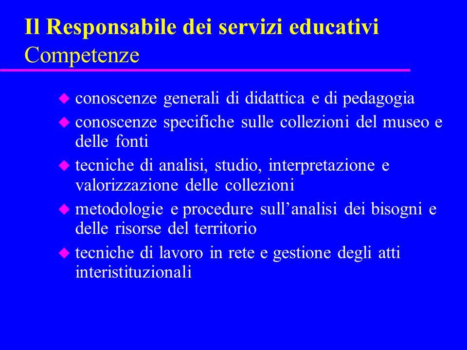 Il Responsabile dei servizi educativi Competenze