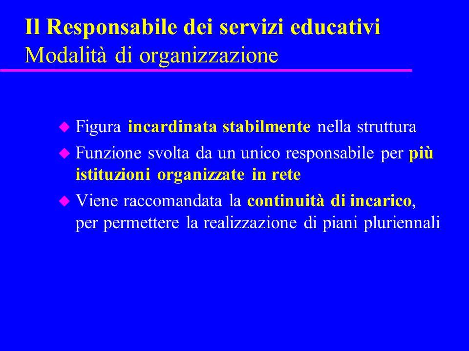 Il Responsabile dei servizi educativi Modalità di organizzazione
