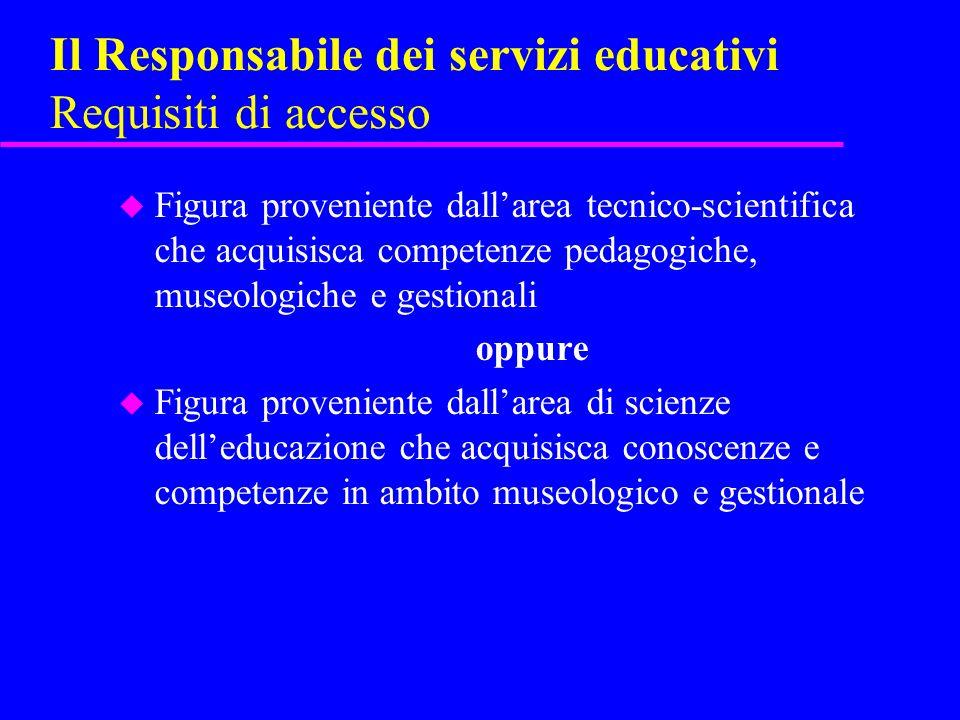 Il Responsabile dei servizi educativi Requisiti di accesso