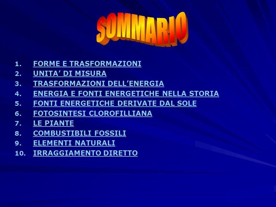 SOMMARIO FORME E TRASFORMAZIONI UNITA' DI MISURA