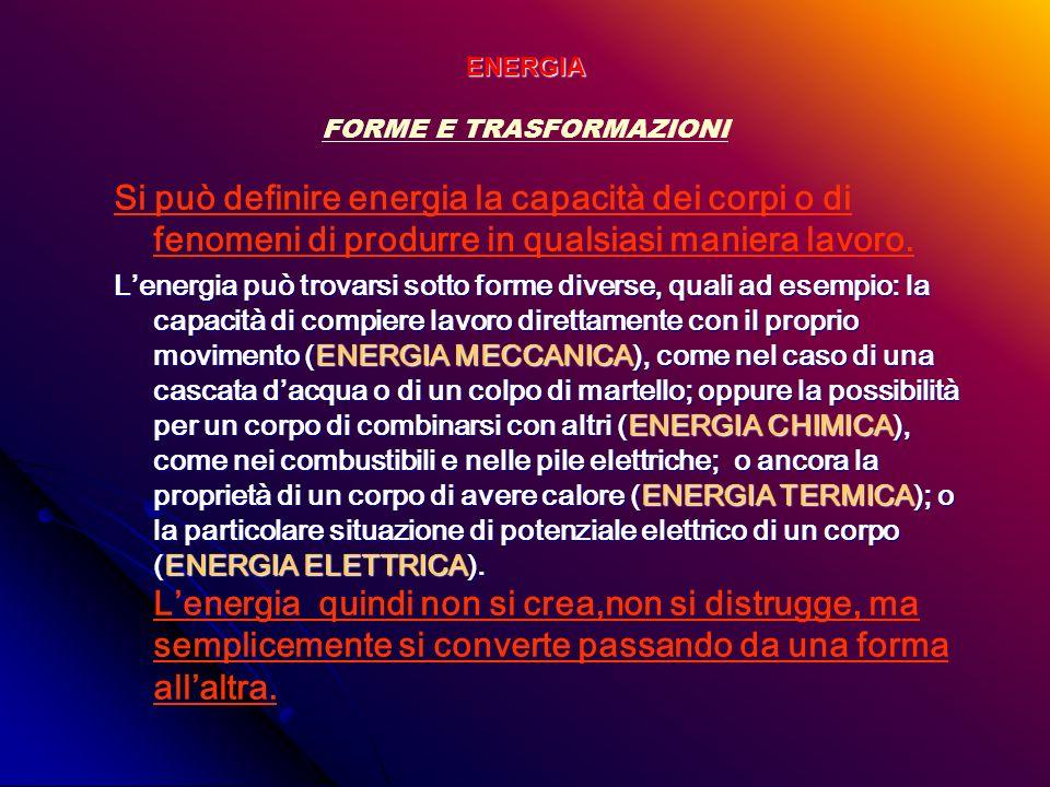 ENERGIA FORME E TRASFORMAZIONI