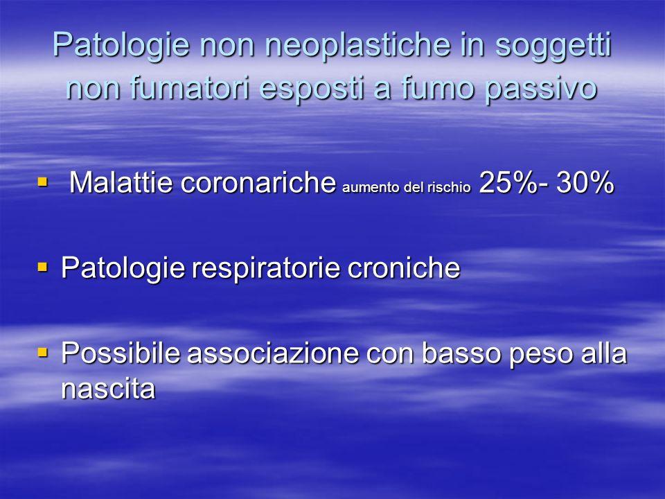Patologie non neoplastiche in soggetti non fumatori esposti a fumo passivo
