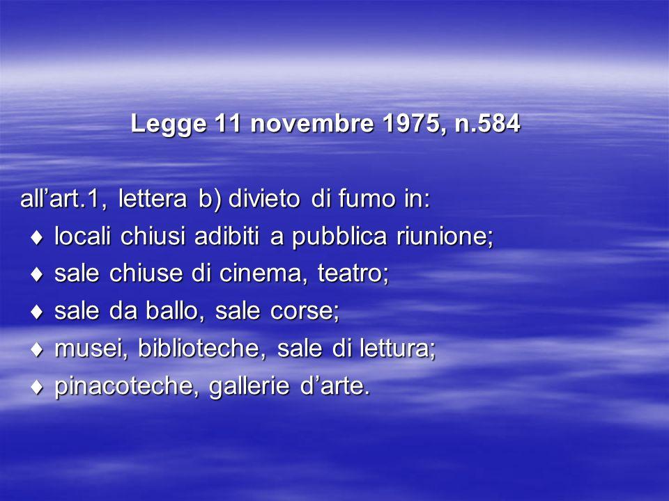 Legge 11 novembre 1975, n.584 all'art.1, lettera b) divieto di fumo in:  locali chiusi adibiti a pubblica riunione;