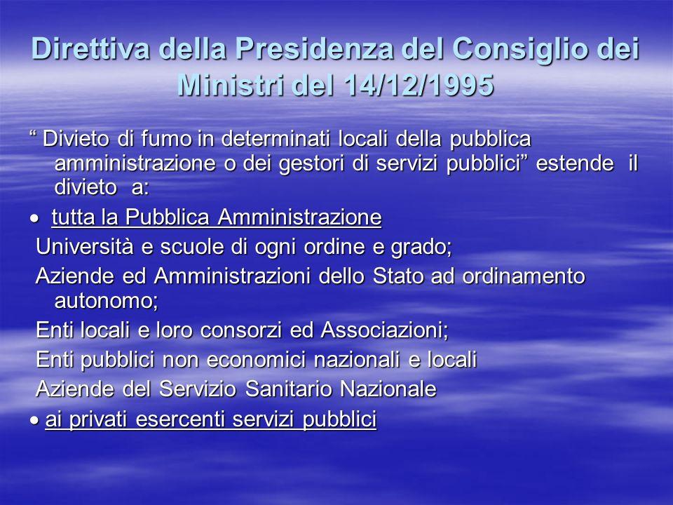 Direttiva della Presidenza del Consiglio dei Ministri del 14/12/1995